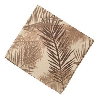 Palm Leaf Print, Dark Brown, Tan and Beige Bandana