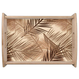 Palm Leaf Print, Dark Brown, Tan and Beige Serving Tray