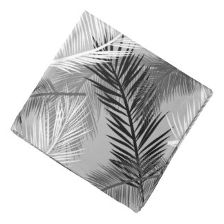 Palm Leaf Print, Grey / Gray, Black and White Bandana