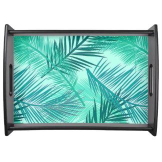 Palm Leaf Print, Teal and Light Aqua Serving Tray