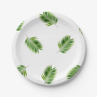 Palm Leaf Print Tropical Paper Plates