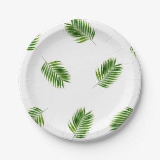 Palm Leaf Print Tropical Paper Plates