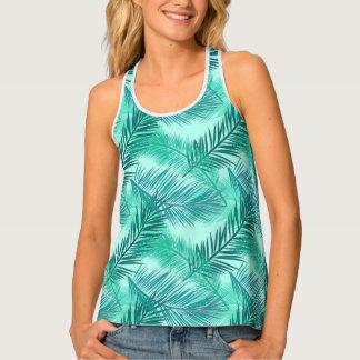 Palm Leaf Print, Turquoise, Teal and Light Aqua Singlet