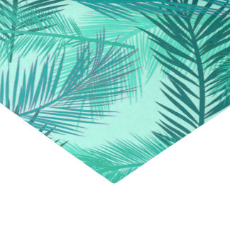 Palm Leaf Print, Turquoise, Teal and Light Aqua Tissue Paper