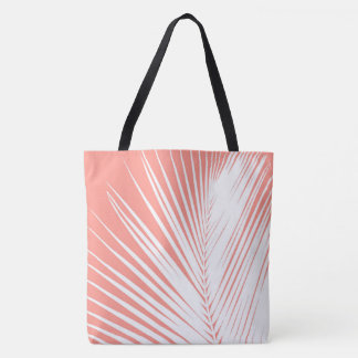 Palm leaf - white on coral pink tote bag