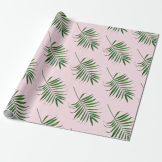Palm Leaf wrapping paper, green pink tropical wrap Wrapping Paper