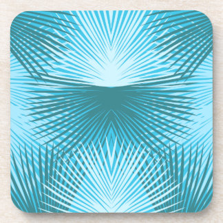 Palm Leaves Abstract Aqua Palm Coasters