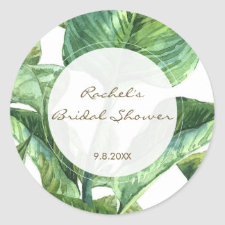 palm leaves botanical bridal shower favor stickers