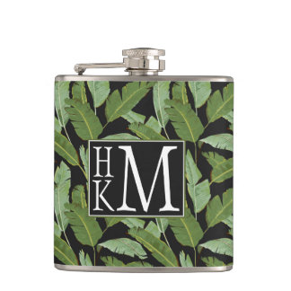 Palm Leaves | Monogram Hip Flask