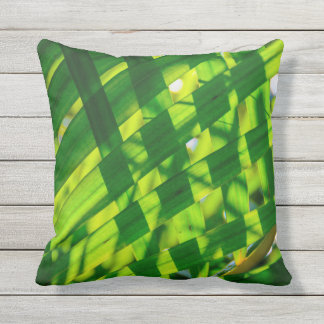 Palm Leaves Plaid Hawaiian Tropical Outdoor Throw Pillow