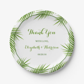 Palm Leaves Tropical Beach Wedding 7 Inch Paper Plate
