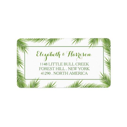 Palm Leaves Tropical Beach Wedding Address Label