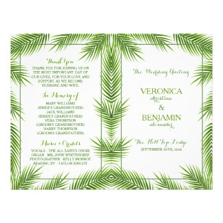 Palm Leaves Tropical Beach Wedding Program Flyer