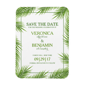 Palm Leaves Tropical Beach Wedding Save The Date Magnet