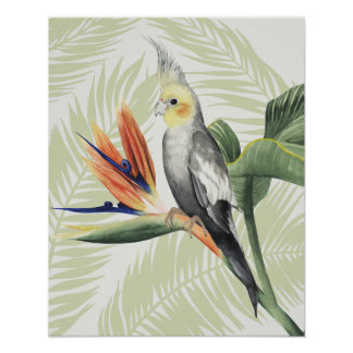 Palm Leaves With Black Bird Poster