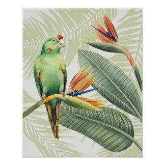 Palm Leaves With Green Bird Poster