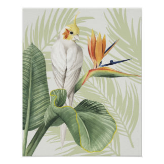 Palm Leaves With White Bird Poster