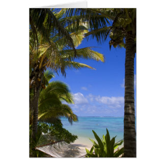 Palm lined beach Cook Islands 2 Greeting Card