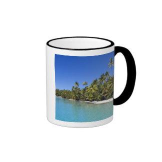 Palm lined beach Cook Islands 2 Ringer Mug