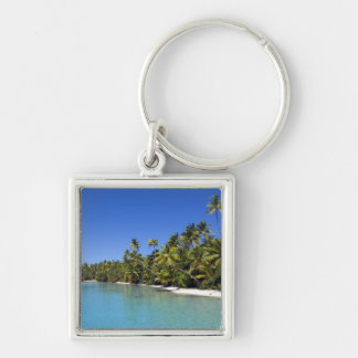 Palm lined beach Cook Islands 2 Silver-Colored Square Key Ring