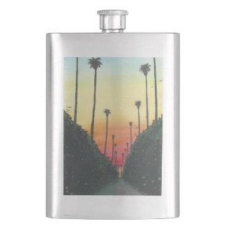 Palm Lined Street at Sundown Hip Flasks