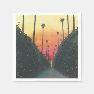 Palm Lined Street at Sundown Disposable Napkins