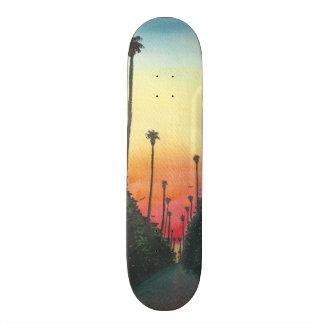 Palm Lined Street at Sundown Skateboard Deck