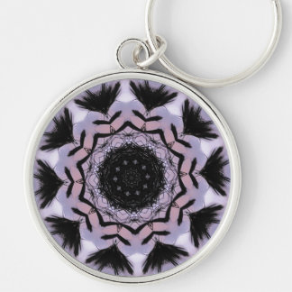 Palm Pattern Silver-Colored Round Key Ring