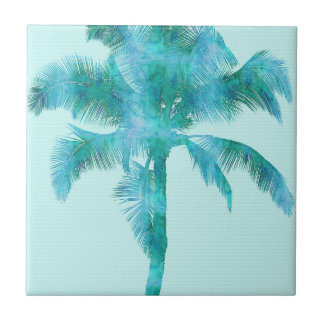 Palm Silhouette Blue Watercolor Background Texture Small Square Tile