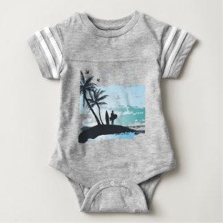 Palm summer surfer background baby bodysuit