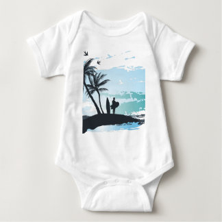 Palm summer surfer background baby bodysuit
