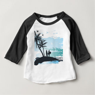 Palm summer surfer background baby T-Shirt