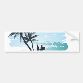 Palm summer surfer background bumper sticker