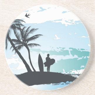 Palm summer surfer background coaster