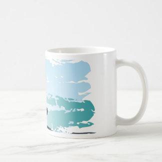 Palm summer surfer background coffee mug
