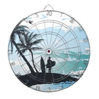 Palm summer surfer background dartboard