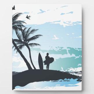 Palm summer surfer background display plaque