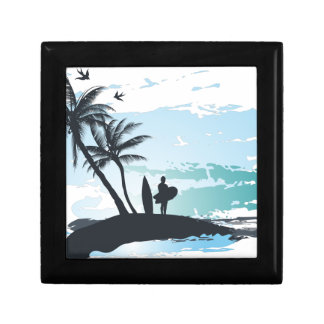 Palm summer surfer background gift box