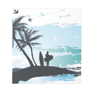 Palm summer surfer background notepad