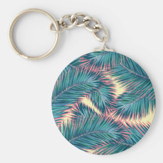 palm tree 7 basic round button key ring