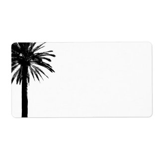 Palm tree address labels for beach weddings