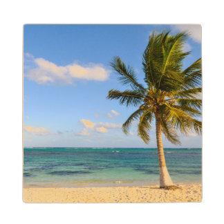Palm Tree and Beach Wood Coaster