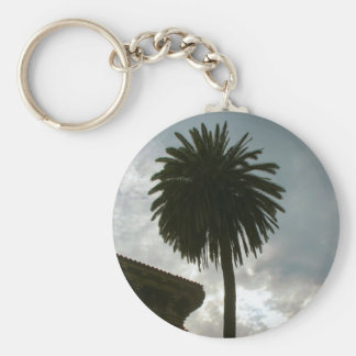 palm tree and clouds basic round button key ring
