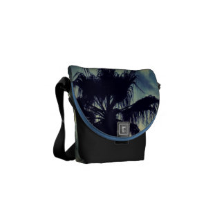palm tree and clouds messenger bag