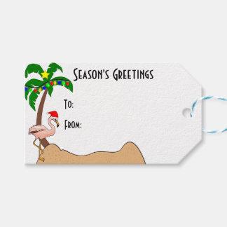 Palm Tree and Flamingos Tropical Christmas Gift Tags