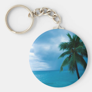 palm tree and ocean basic round button key ring