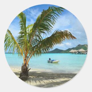 Palm tree and overwater resort round sticker