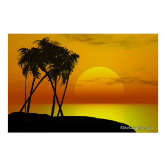 Palm Tree and Sunset Poster