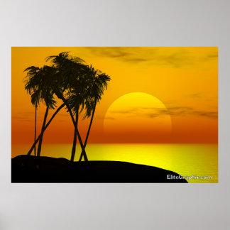 Palm Tree and Sunset Print