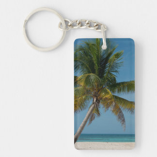 Palm tree and white sand beach  2 Double-Sided rectangular acrylic key ring